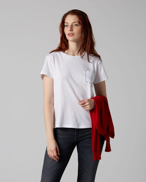 7 For All Mankind - Short Sleeve Tee Cotton White With Rhinestones