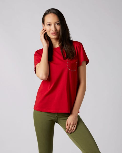 SHORT SLEEVE TEE COTTON RED WITH RHINESTONES