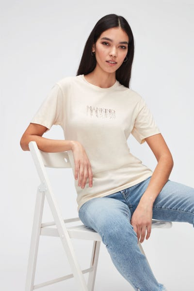 STUDDED LOGO TEE CUTIL W/ STUDS WINTER WHITE