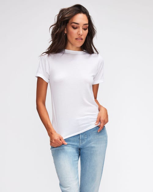 ROLLED UP SLEEVES BABY TEE CUTIL W/EMBROIDERY WHITE