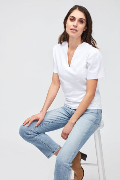 V-NECK COTTON  WHITE