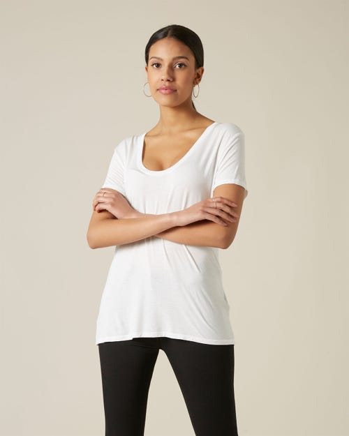 RAYON U NECK TEE REACTIVE DYE WHITE