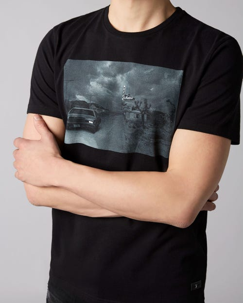 7 For All Mankind - Graphic Tee Cotton Motel Black