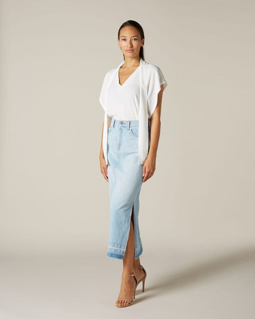 MAXI SKIRT UNROLLED POWDER BLUE WITH OUTSEAM SLITS