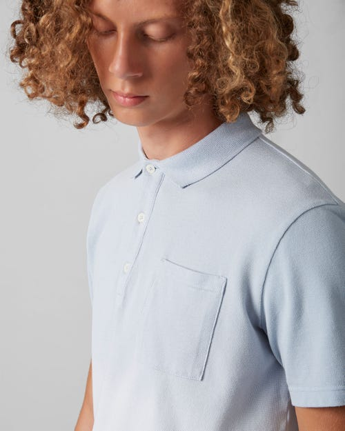 7 for all Mankind - POLO S/S PIQUET FADE BLUE CHILL