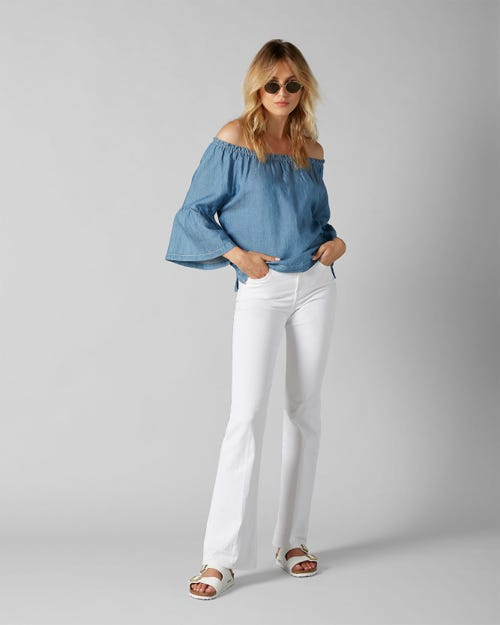 7 For All Mankind - Lisha Unrolled Slim Illusion Pure White