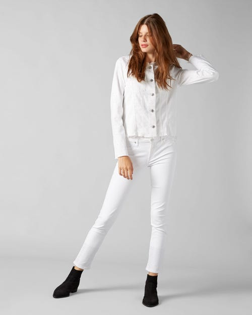 DENIM JACKET PURE WHITE WITH ALLOVER CRYSTALS