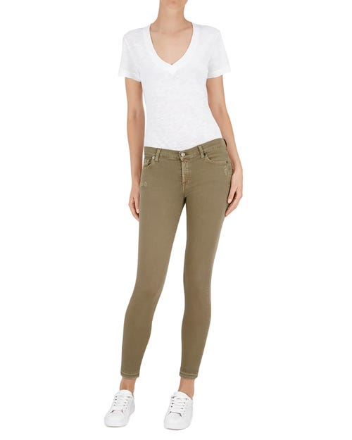 7 For All Mankind - The Skinny Crop Unrolled Color Slim Illusion Army