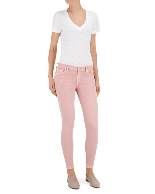 THE SKINNY CROP UNROLLED COLOR SLIM ILLUSION PINK