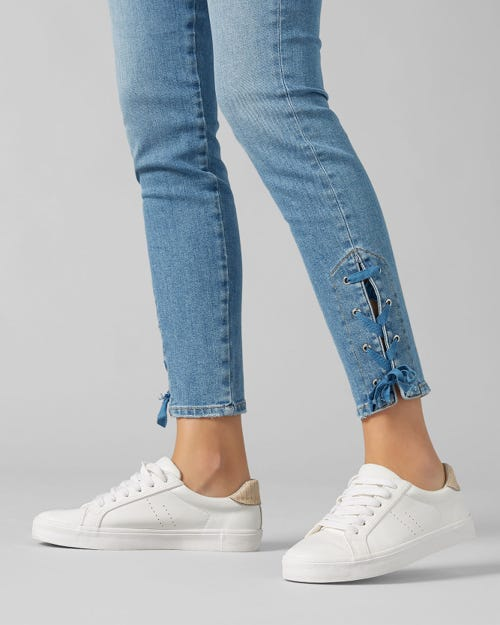 7 For All Mankind - The Skinny Crop Slim Illusion Palisades With Lace Hem