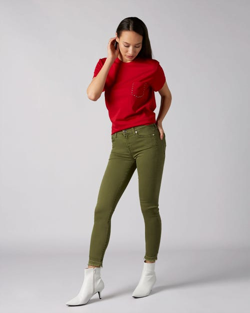 THE SKINNY CROP UNROLLED COLORED SLIM ILLUSION ARMY