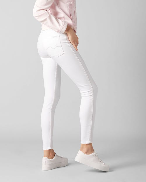 7 For All Mankind - The Skinny Crop Slim Illusion Pure White With Embellished Squiggle