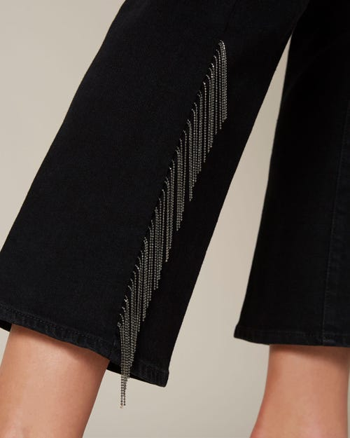 HIGH WAIST VINTAGE CROPPED BOOT NOIR OUTSEAM METAL FRINGES