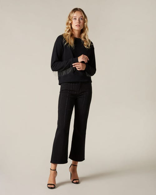 CROPPED ALEXA LUREX STRIPES BLACK