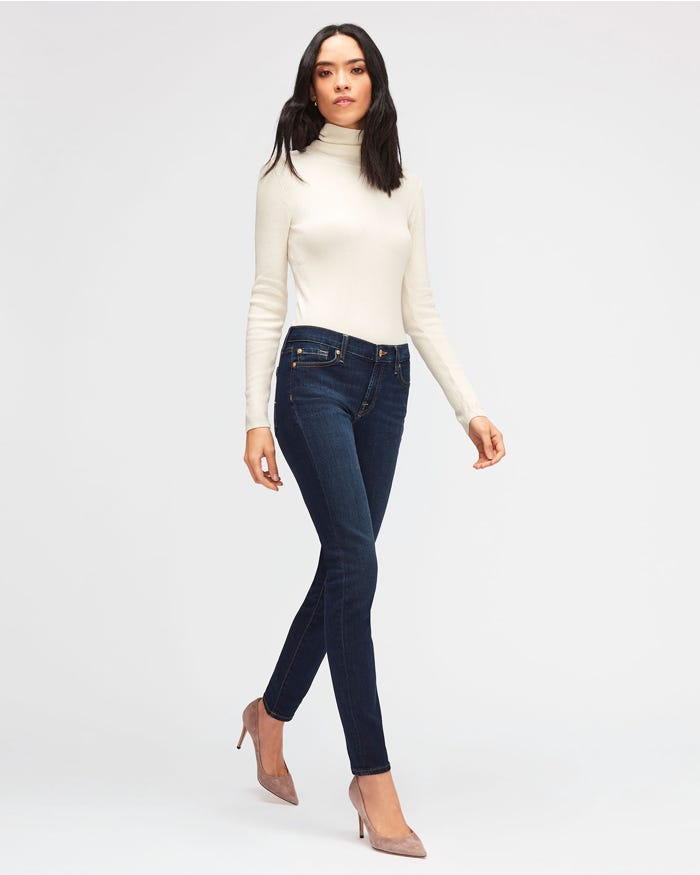 166454b622e The Skinny B(Air) Rinsed Indigo - Jeans Bootcut Donna   7 For All ...