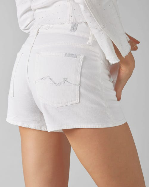 7 For All Mankind - Mid Rise Shorts Pure White With Embellished Squiggle
