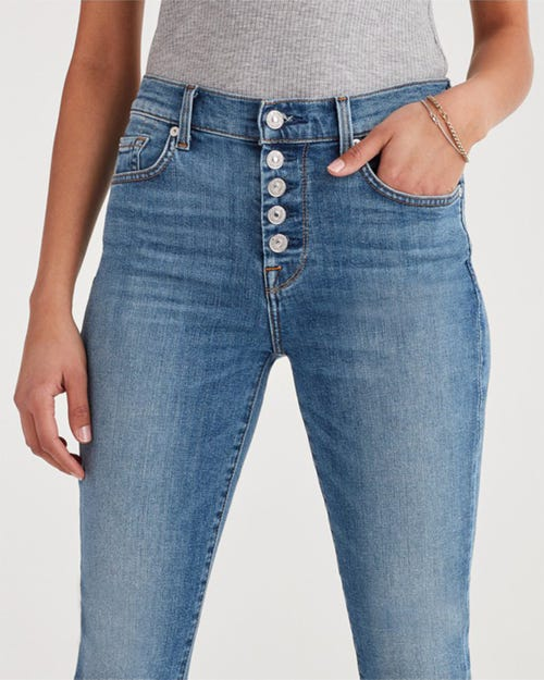 7 for all Mankind - THE HIGH WAIST ANKLE SKINNY SLOANE VINTAGE EXPOSED BUTTON FLY