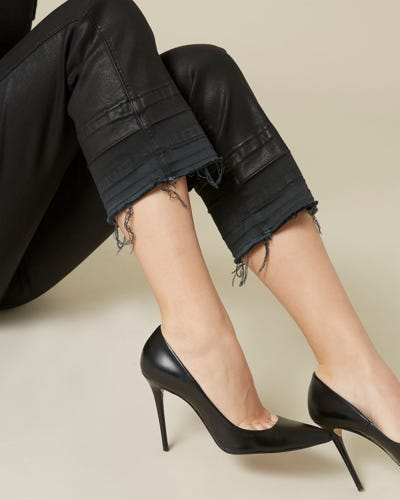 CROPPED BOOT UNROLLED COATED SLIM ILLUSION BLACK